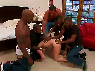 Five Big Men Surround Her And Hold Her Down In Human Bondage. She Struggles To Get Away As Her Ass And Pussy Are Brutally Pounded. It Is Amazing. Teen Video