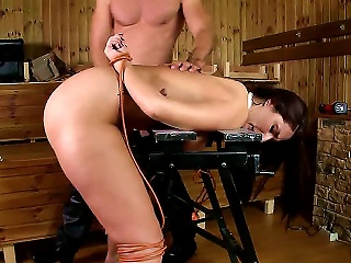 Very Lovely Young Brunette Paige Turnah Gets In A Real Trouble As She Is Tied To A Stool, Spanked Hard And Fucked In Her Quim Mercilessly From Behind. Teen Video