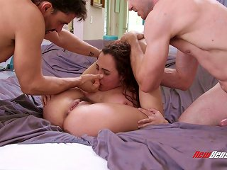 A Limber Girl Takes A Shower Then Has A Threesome With Two Guys Teen Video
