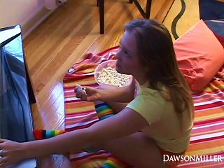 Movie Night Gets Naughty When She Does Sexy Things With Her Popcorn Teen Video