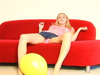 Yellow Toy Balloon Is In Between Hot Blonde Babe's Legs Teen Video