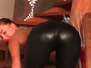 Beautiful  Girl In Leather Pants Teases Teen Video