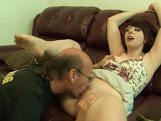 Sizzling Teen With Petite Natural Tits Sucking An Old Man's Big Cock Teen Video