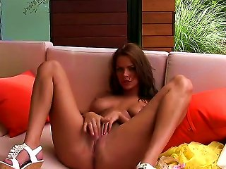 Watch Everything What Meggan Malone Is Performing! Gorgeous Woman With Great Forms Of Body Is Becoming Naked On Huge Sofa Before Spreading Legs And Pl Teen Video