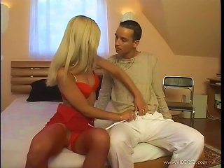 A Hot Blonde In A Red Lingerie And Fishnets Fucks In A Bedroom Teen Video