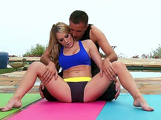 Luxurious Blonde Wife Amber Ashlee Has Yoga Exercises With Her Trainer Keiran Lee. Suddenly They Both Feel Strong Temptation To Fuck And Start Doing I Teen Video