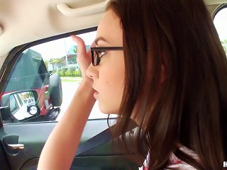 Gorgeous Teen Sucking Her Boyfriend's Massive Cock In His Car Teen Video