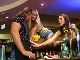 Two Slutty Chicks Seduce A Barman And Fuck Him In The Club Teen Video