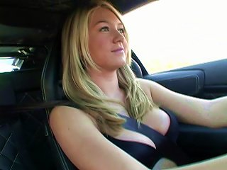 Alison Angel Plays With Her Big Boobs After Driving A Car Teen Video