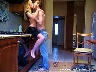 Blonde Teen Is Fucked On The Kitchen Counter By Her Boyfriend Teen Video