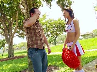 Hot Brunette Cheerleader Mimi Rayne Cheering For Cock Teen Video