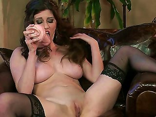 Busty Chick Just Amber Is Not Against Of Self-satisfaction When There Is No Guy Near To Bang Her Hard. This Time She Takes Dildo, Spreads Legs In Stoc Teen Video