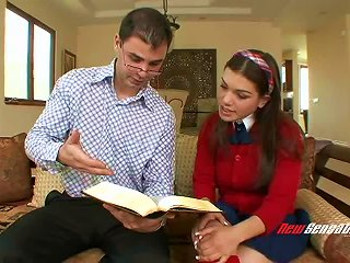 Teen In A Pretty Red Cardigan Convinces Her Tutor To Fuck Her Cunt Teen Video