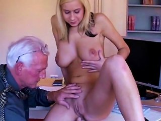 Young Blonde Enjoys A Senior Cock Teen Video