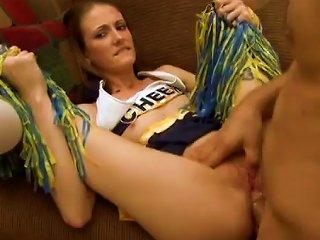 Slim Babe In A Cheerleader Uniform Gets Fucked In Both Holes Teen Video