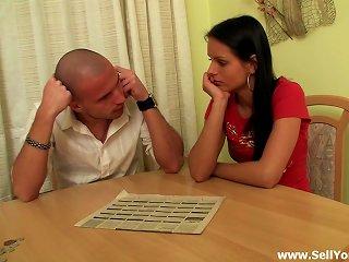 Bald Dude Watches How His Friend Nails Lustful Brunette Teen Teen Video