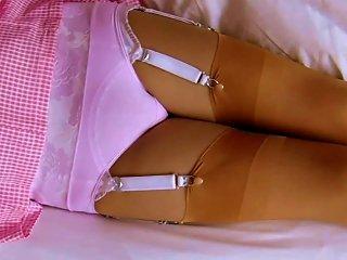 Gingham School Dress Cotton Panties & Nylon Stockings Teen Video