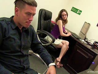 Nerdy Girl Services Cock At The Office Gloryhole Teen Video