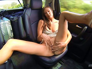 Horny Brunette Masturbates With A Dildo In The Backseat Of A Car Teen Video