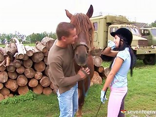 Her Riding Coach Takes Her Outside And Fucks Her On A Stack Of Wood Teen Video