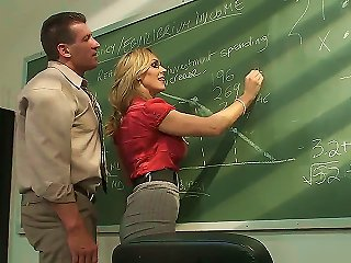 Awesome Blonde MILF Pornstar Tanya Tate With A Big And Very Tasty Boobs Seduces Her Student In The Classroom. This Hot Whore Gets Licked On A Table An Teen Video
