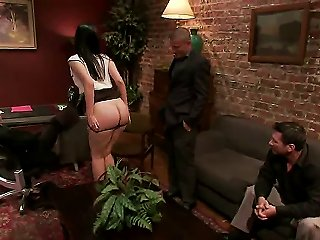 Naughty Chick Kimberly Kane Tries To Seduce Perverted Men James Deen, John Strong, Mark Wood And Mr. Pete To Gang Bang Her So Hard Right In An Office. Teen Video