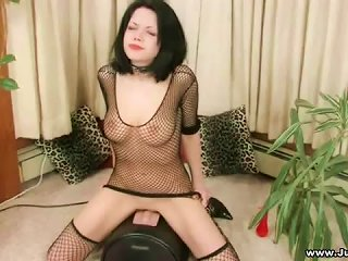 Fair Skinned Goddess With Jet Black Hair Riding Sybian Teen Video