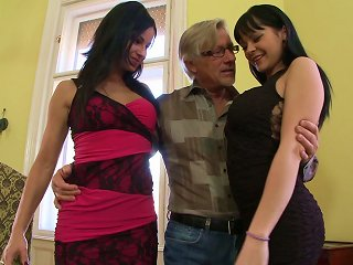 A Very Lucky Old Guy Has A Threesome With Two Hot Younger Chicks Teen Video