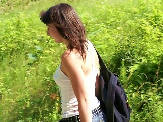 Charming Brunette Enjoys Jumping On A Cock Outdoors Teen Video