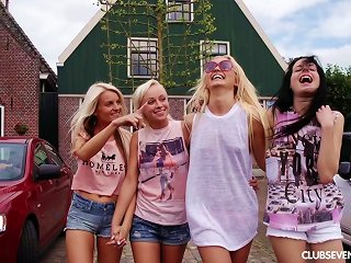 Public Flashing Gets Four Friends So Hot That They Fuck On A Boat Teen Video